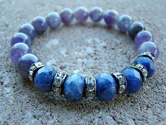 Bead Bracelet, Blue, Gemstone Bracelet, Amethyst, Beaded Bracelet, Women's Beaded Bracelet, Beaded Stretch Bracelet, Natural Stone Bracelet by BeJeweledByCandi