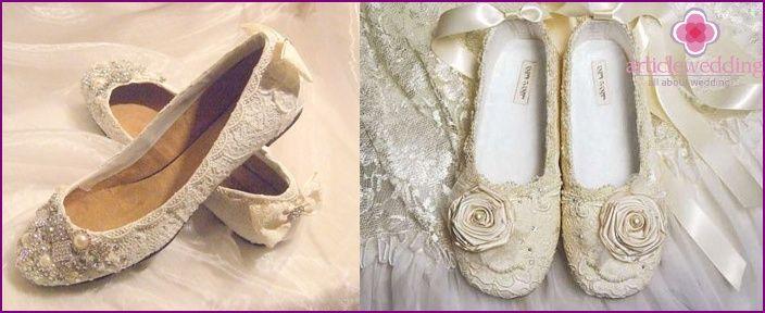 Bryllup sko uten hæl i 2015 - som modell for å velge, bilder