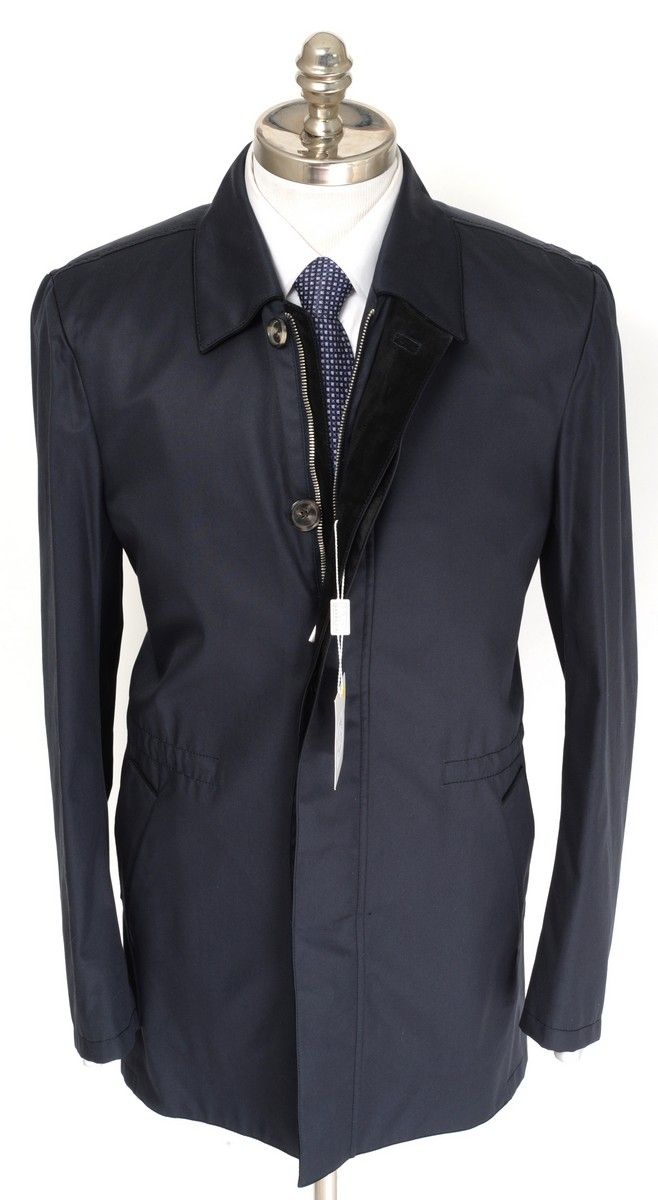 BRIONI Navy Cotton Silk Leather Slim 4Btn Coat Jacket  |  Have at it! http://www.frieschskys.com/outerwear  |  #frieschskys #mensfashion #fashion #mensstyle #style #moda #menswear #dapper #stylish #MadeInItaly #Italy #couture #highfashion #designer #shop
