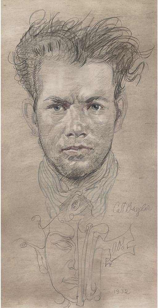 Austin Osman Spare (1888-1956), Cat Burglar, 1956, pencil and crayon, 30.5 x 15.3 cm