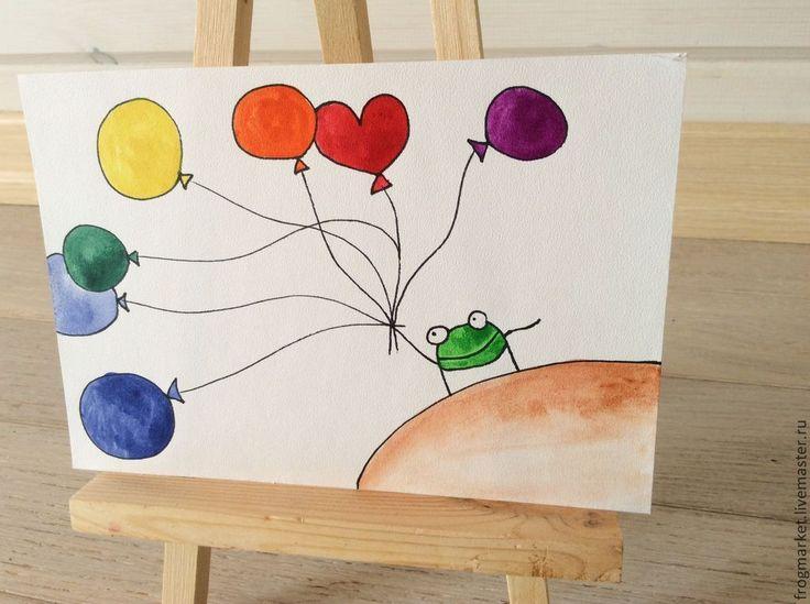 Купить Жаба с шариками - разноцветный, зеленый цвет, животные, акварель, акварельная картина, акварельный рисунок