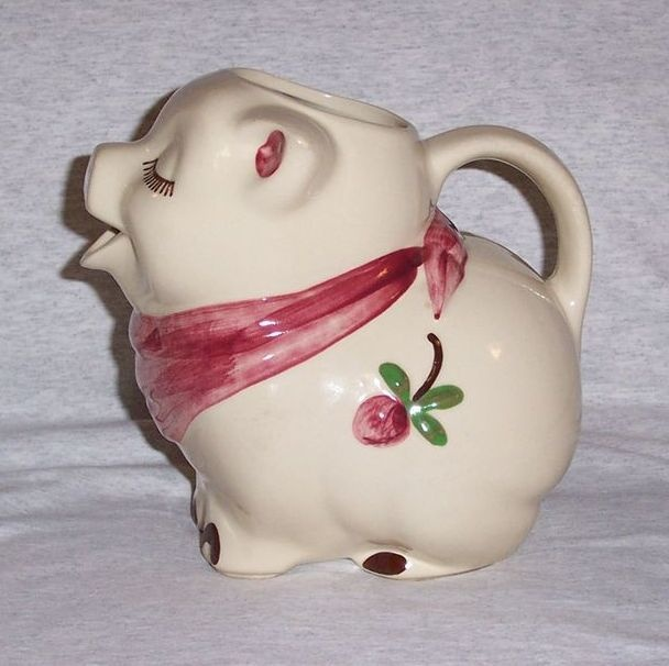Shawnee Pottery Smiley Pig Clover Bud Milk Water Pitcher