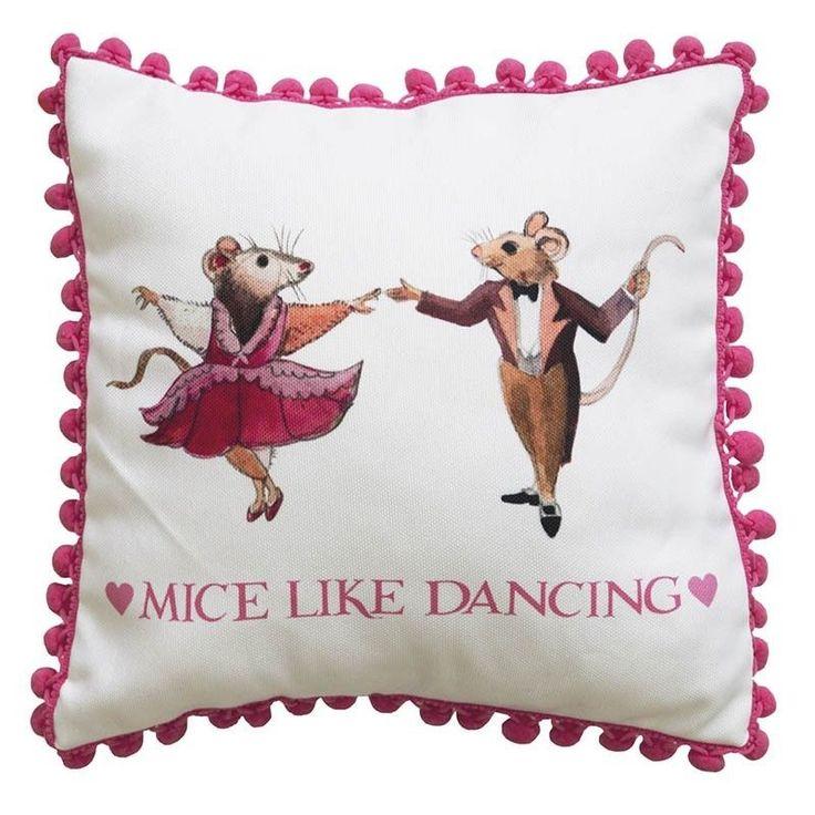BNWT OFFICIAL EMMA BRIDGEWATER BALLET DANCING MICE 30CM FILLED, FRINGED CUSHION