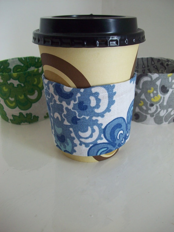 Recycled Coffee Cozy by LaPommeEtLaPipe on Etsy, $4.50