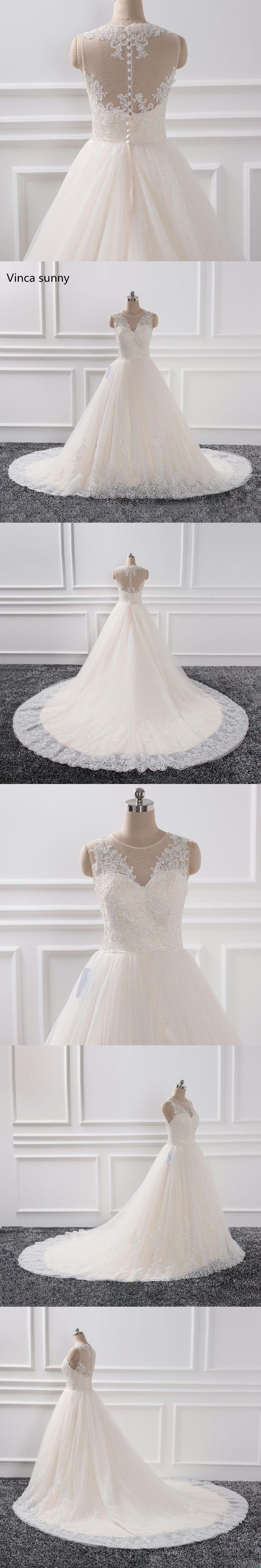 robe de soiree 2018 romantic Lace Sleeveless champagne Ball Gown Wedding Dresses Appliques Bridal Gowns vestido de noiva
