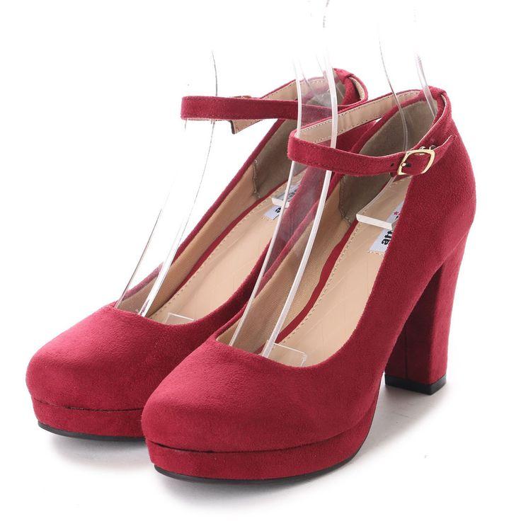 アタガール attagirl ラウンドトゥ ハイヒール ストラップ パンプス 9cmヒール (ワインスエード) -靴&ファッション通販 ロコンド〜自宅で試着、気軽に返品