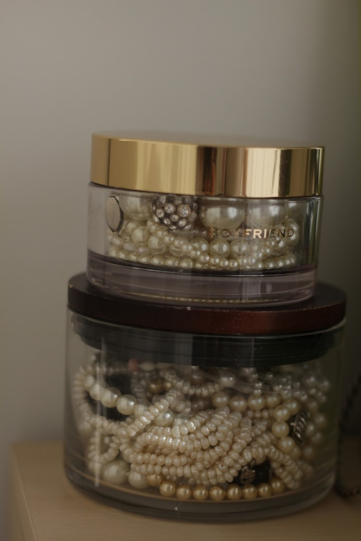 Jewelry in old makeup jars + Pearls