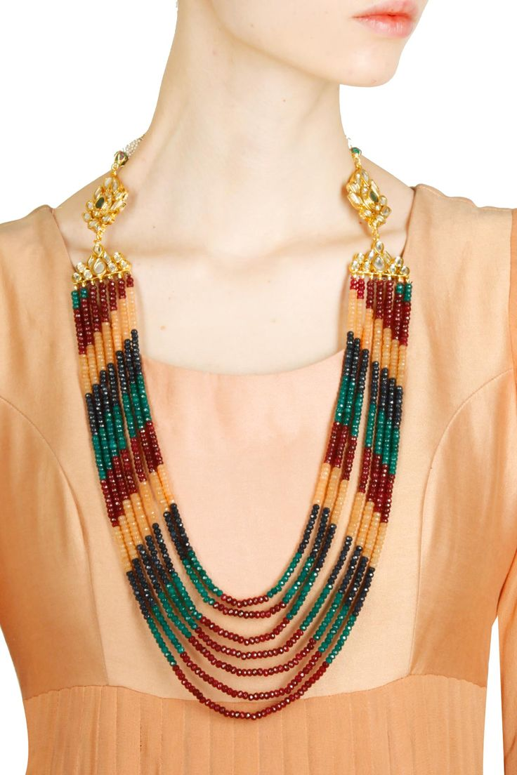Gold finish multicolored stone strings necklace with kundan studded earrings available only at Pernia's Pop Up Shop.