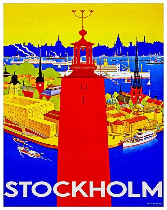 Zweden reizen Poster Stockholm Wall Art Print door Blivingstons