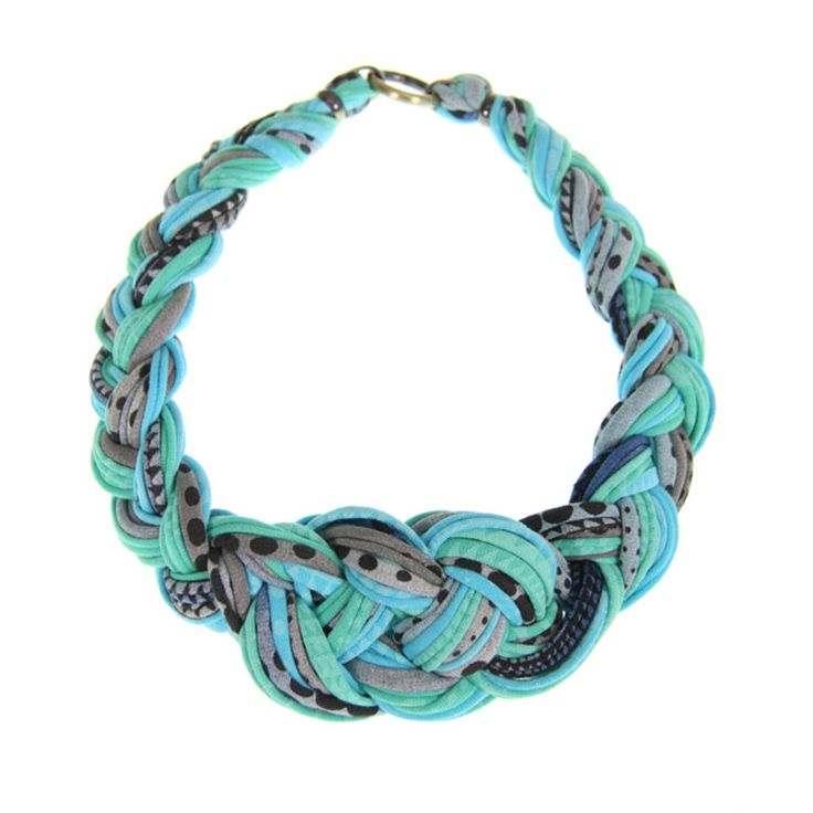 Necklace Jewelry Womens Braided - Teal w/ blue, black - HAND PRINTED by NECKLUSH