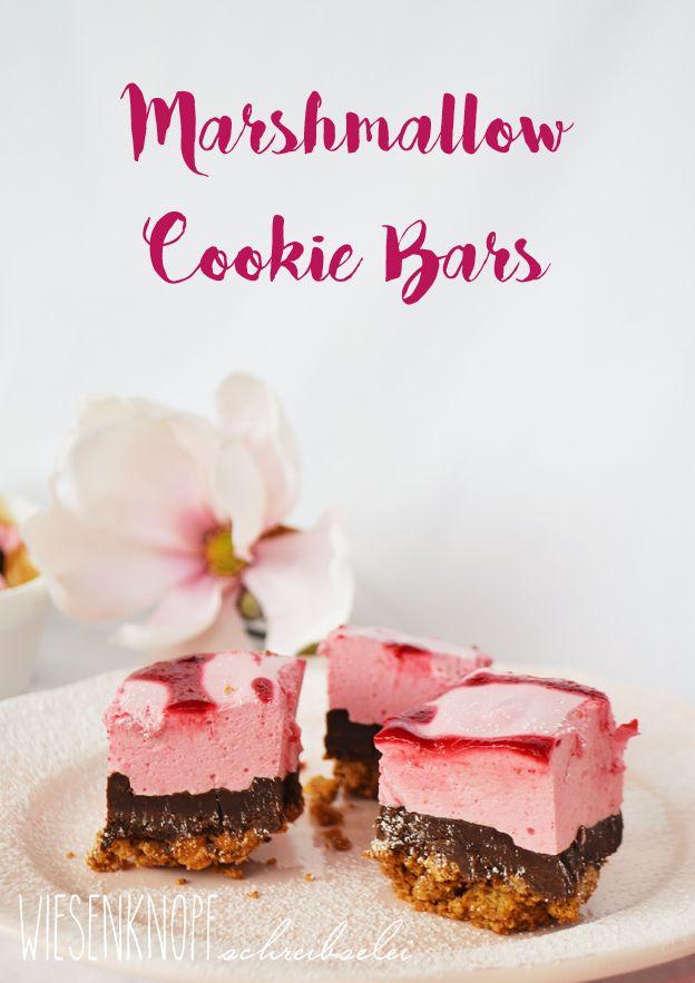 No baked Marshmallow Cookie Bars mit Himbeeren
