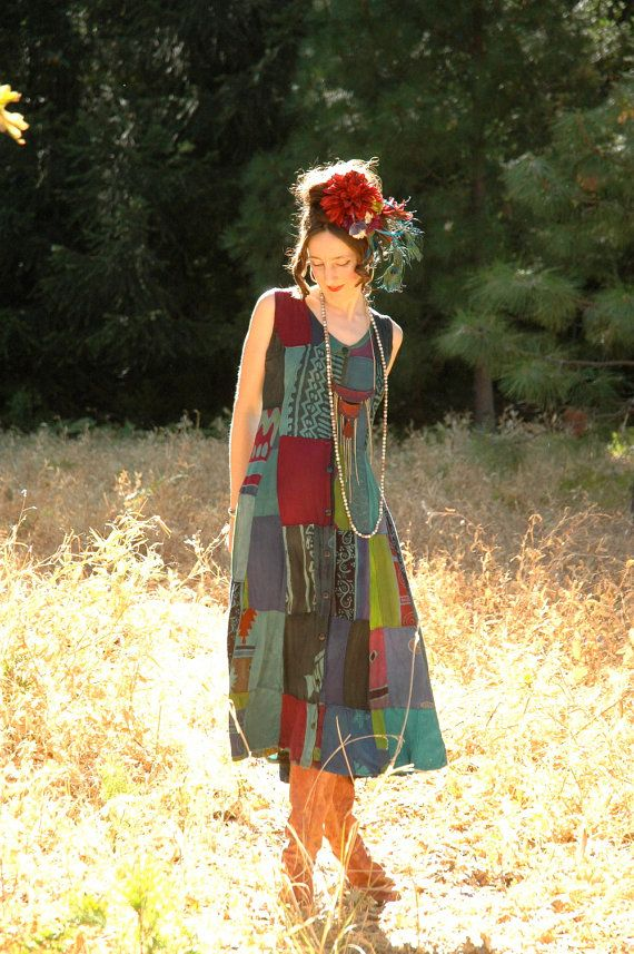 Size Medium... Batik Patchwork Gypsy Chic Dress... Made in San Francisco... KISSES on the WIND