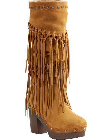 Ariat Women's Music Row Wheat Suede Fringe Boots - Round Toe - Country Outfitter