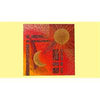 """ULTIMA CREAZIONE. """" Sole e luna in rosso """" Tecnica mista su tela e applicazione di graniglie e pietre decorative. Screpolatura della vernice sugli astri in oro. """"Sole e luna"""" nella versione su tela quadrata nasce dall'idea di concentrare il soggetto in uno spazio più contenuto, ma dagli effetti sempre piacevoli. Le tonalità del rosso rendono l'impatto più gradevole per gli arredamenti che osano le tonalità calde."""