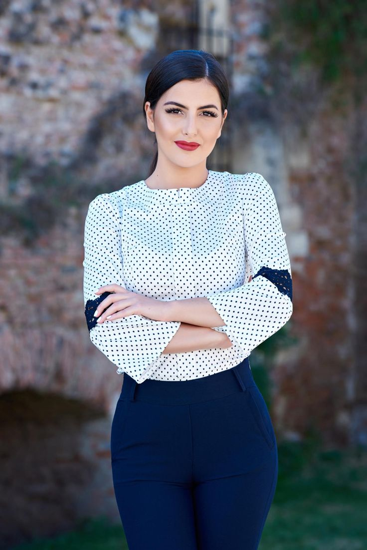 Fofy Dotted World White Shirt, slightly elastic fabric, knitted lace…
