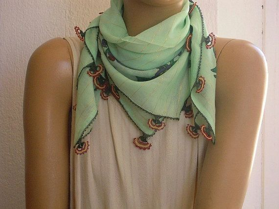 cotton scarf needle lace edging pale green turkish oya