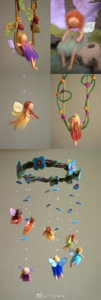 needle felted fairy mobile