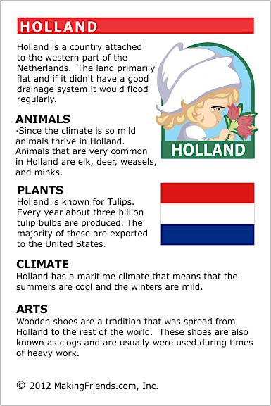 Holland Fact Card for your Girl Scout World Thinking Day or International celebration. Free printable available at MakingFriends.com. Fits perfectly in the World Thinking Passport, also available at MakingFriends.com