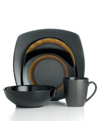 Sango Dinnerware, Dazzle Black 16 Piece Set - Casual Dinnerware - Dining & Entertaining - Macy's