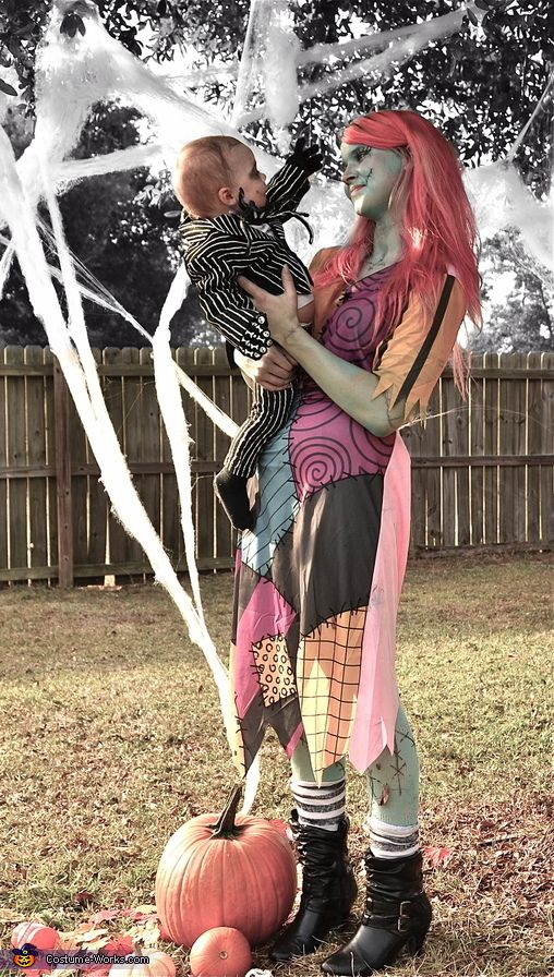 Pictures and mostly-homemade costumes I did of Me and my son as: Jack Skellington and Sally from The Nightmare Before Christmas - 2013 Halloween Costume Contest via @costumeworks -Brandi VanOrmer