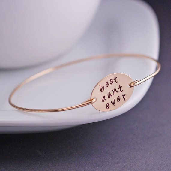 Gift for Aunt, Gold Best Aunt Ever Bracelet, Aunt Jewelry, Gold Bangle Bracelet, Mothers Day Gift Idea. $40.00, via Etsy.