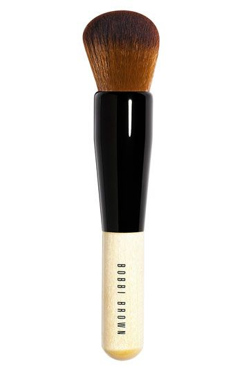 Bobbi Brown Full Coverage Face Brush available at #Nordstrom. Best Face brush for foundation, cream blush, or any liquid blending. All because of the dense synthetic bristles, which work best with liquids/creams.