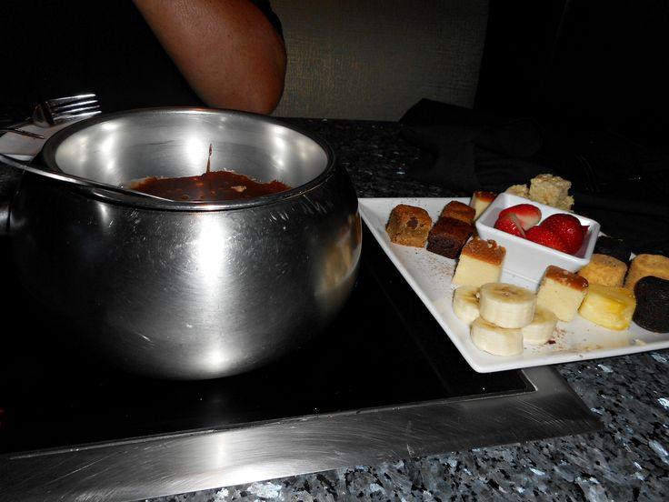 Having fondue at Melting Pot Atlanta,Georgia