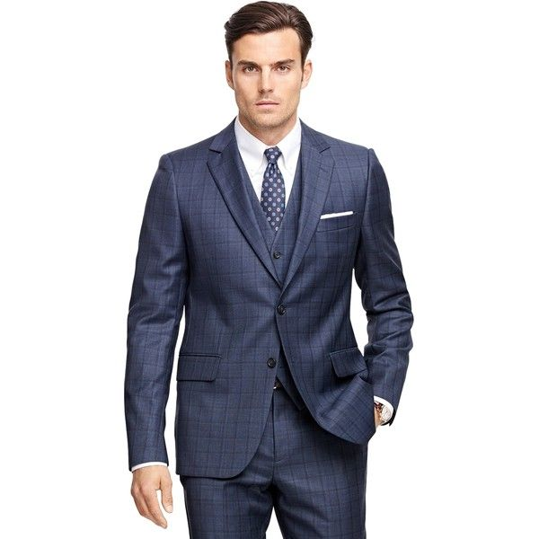 Brooks Brothers Fitzgerald Fit Saxxon Wool Multipane Three-Piece 1818... (11.343.935 IDR) ❤ liked on Polyvore featuring men's fashion, men's clothing, men's suits, blue, mens 3 piece suits, mens peak lapel suits, mens blue suit, mens blue 3 piece suit and brooks brothers mens clothing
