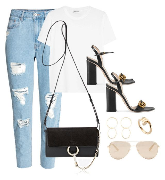 Untitled #3629 by magsmccray on Polyvore featuring polyvore fashion style Yves Saint Laurent H&M Gucci Chloé Cartier Jennifer Fisher Ted Baker clothing