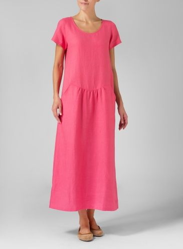 Pink linen short-sleeved dress : Missy Clothing