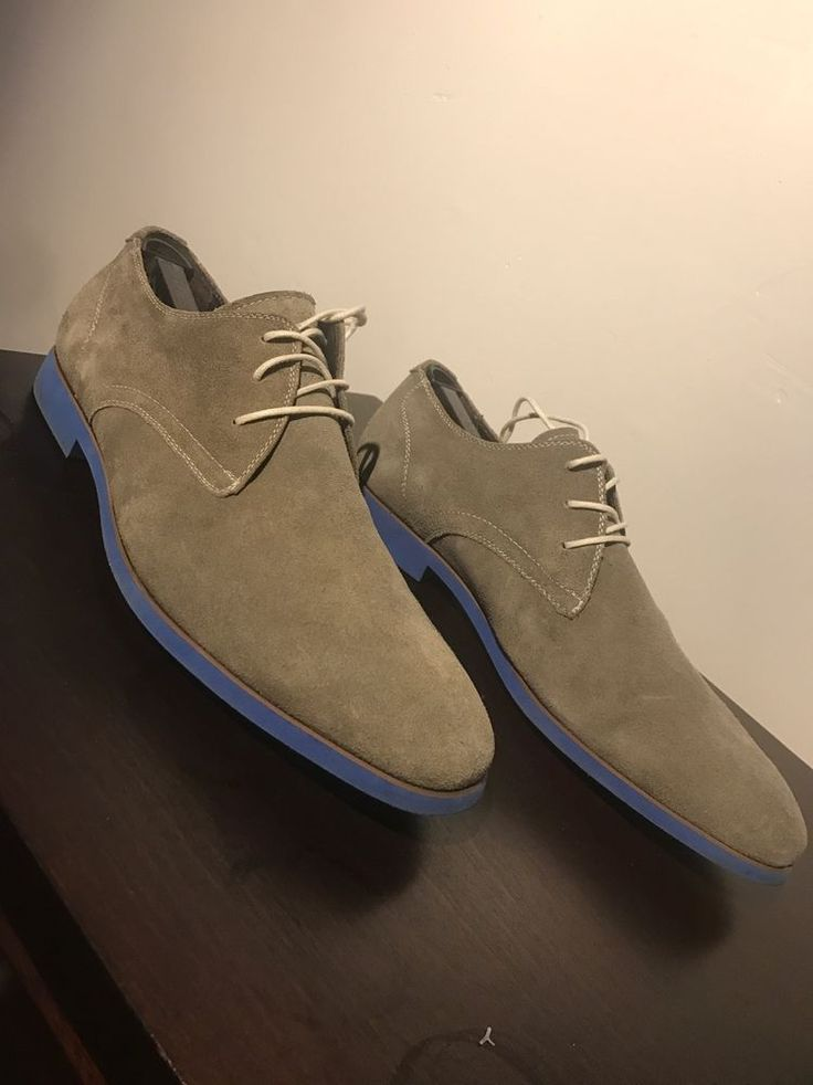 Bacco Bucci Men Suede Oxford Shoes Size 11 With Blue Sole Shoe Tree Included