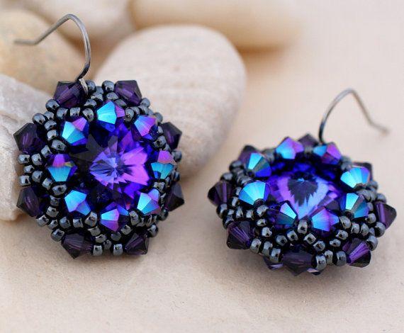 Purple and Gunmetal Crystal Wrapped Rivoli Earrings via Etsy