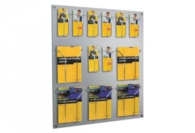 """Den flexibel bestückbaren Wandprospekthalter FLEX können Sie ganz individuell """"konfigurieren"""".  Es gibt eine Vielzahl von Kombinationen mit Halterungen im DIN lang (Faltprospekt)-Format und/ oder mit Halterungen für DIN A4 Prospekte. http://www.starexpo.de/prospekthalter/wandprospekthalter/wandprospekthalter-flex/"""