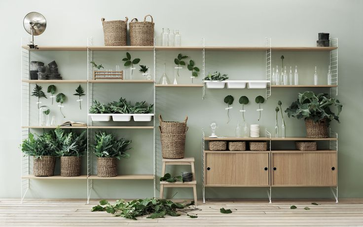 String shelving system in oak and white