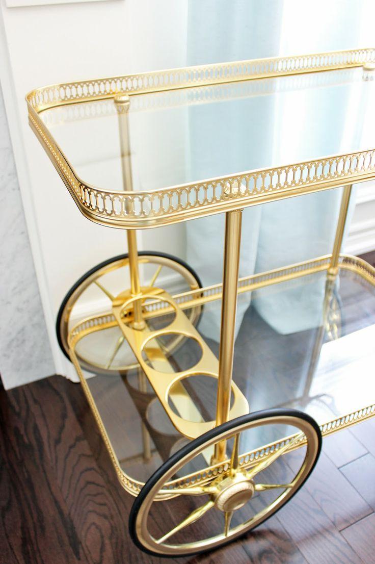 AM Dolce Vita: Major Score: Bagues Brass Bar Cart, Vintage Maison Bagues brass bar cart, filigree gallery tray