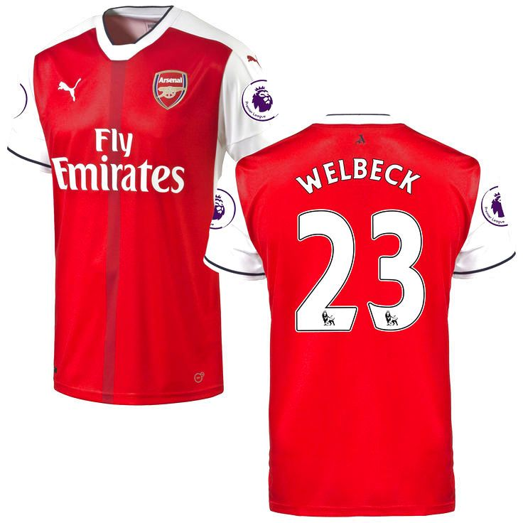 Danny Welbeck Arsenal Puma 2016/17 Home Replica Patch Jersey - Red - $114.99