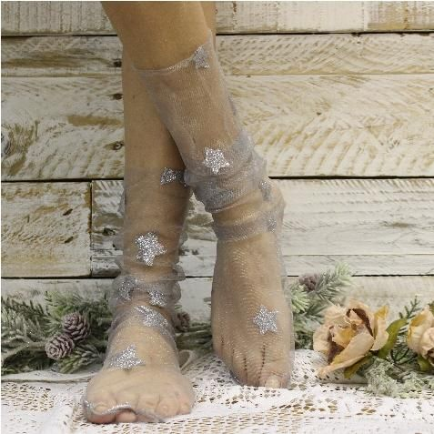 STARRY NIGHT sheer tulle sock for heels - silver