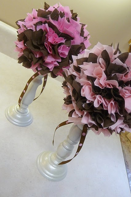 candlestick topiary - could top with flowers, paper poufs, food...