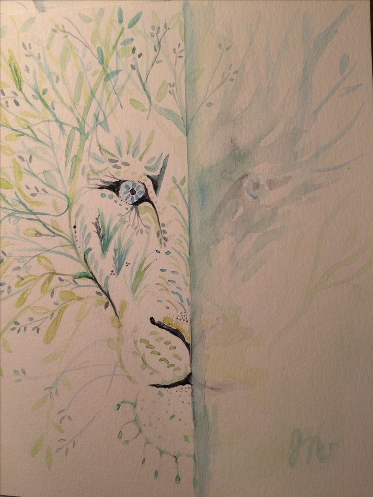 Lion and trees. Half and half. Water color