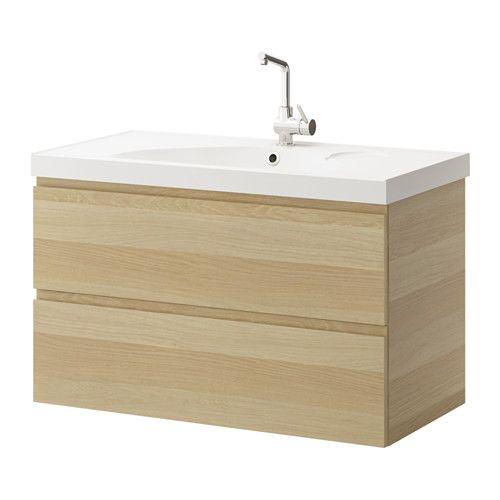 IKEA - GODMORGON / EDEBOVIKEN, Kast wastafel 2 lades, wit gelazuurd eikeneffect, , Gratis 10 jaar garantie. 299 euro