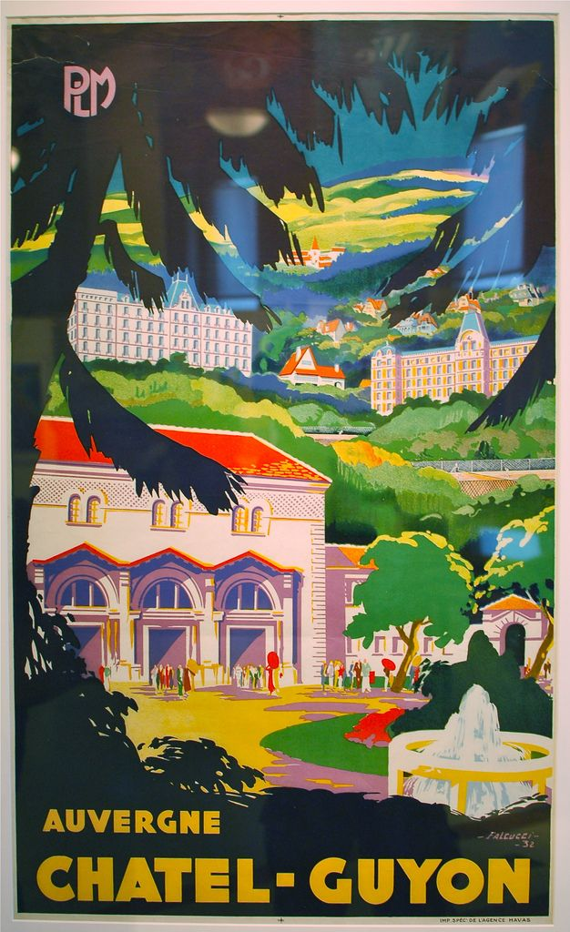 """https://flic.kr/p/8HHe7H   """"AUVERGNE CHATEL-GUYON"""", at the Away We Go! Travel poster exhibit at Boston Public Library"""