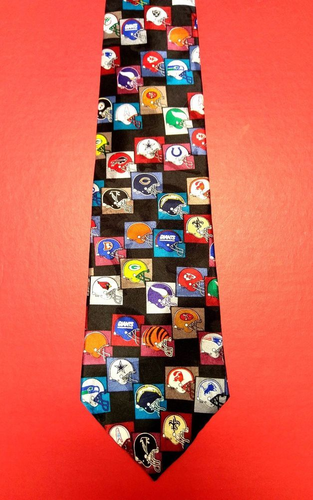 Vtg Team NFL Football Helmet Logos Mens Neck Tie Patriots Oilers Cowboys Saints #TeamNFL #Multiple