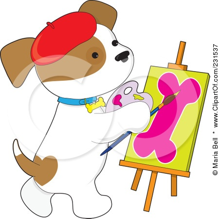 Royalty-Free (RF) Clipart Illustration of a Cute Puppy Dog Painting A Dog Bone On Canvas by Maria Bell