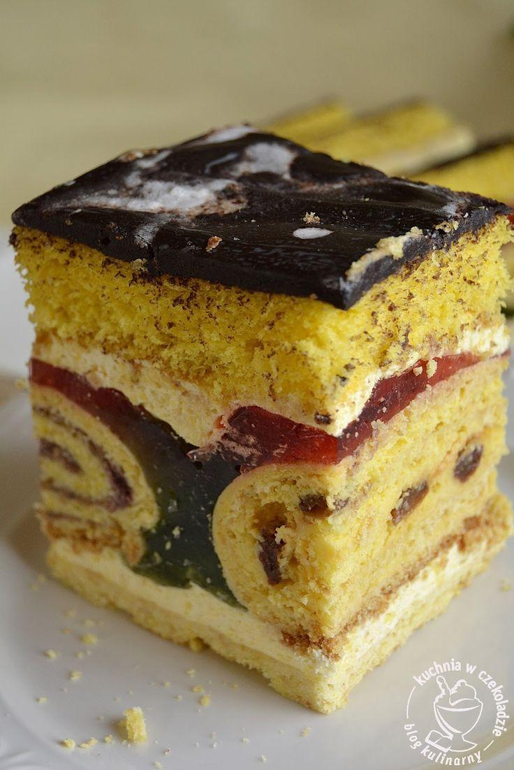 Ciasto Pawi ogon, Tortowe, z roladką serową, z galaretką, na biszkopcie, do kawy, świąteczne ciasta