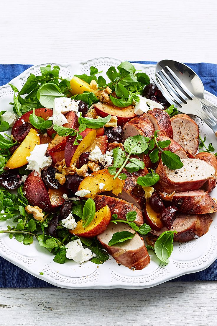 These prosciutto-wrapped pork medallions are teamed with a fresh stone fruit salsa, creamy feta and watercress for a healthy, low-calorie dinner that will leave you feeling satisfied.