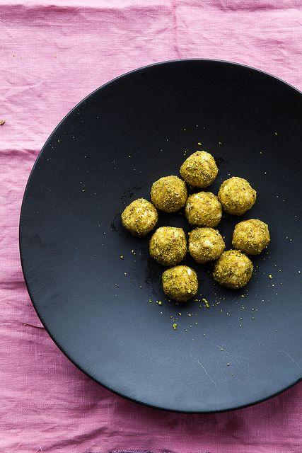 honey, goat cheese and pistachio truffles