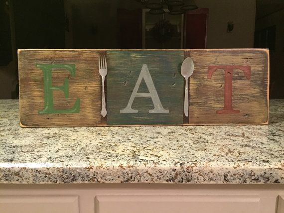 EAT Wood Sign silverware hand painted sign by ASmidgeofCharacter