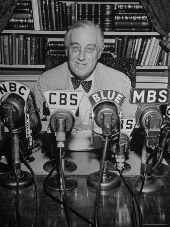 U.S.A. President Roosevelt ready to deliver a radio message from his office shortly before the outbreak of WW2.