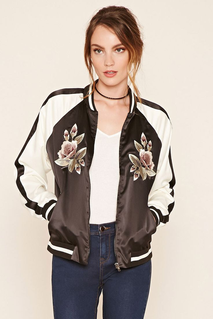 embroidered satin bomber jacket