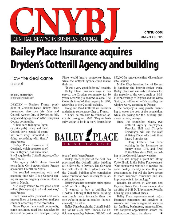 Bailey Place Insurance Acquires Cotterill Agency And Building At
